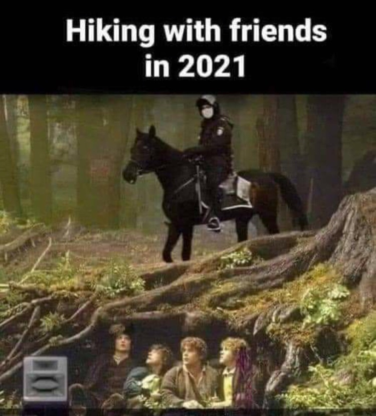 Hiking with friends in 2021