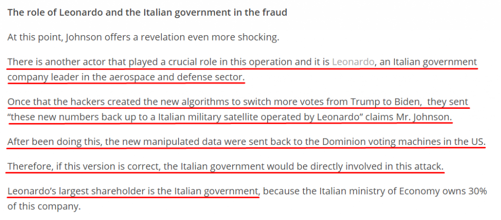 The role of Leonardo in election fraud
