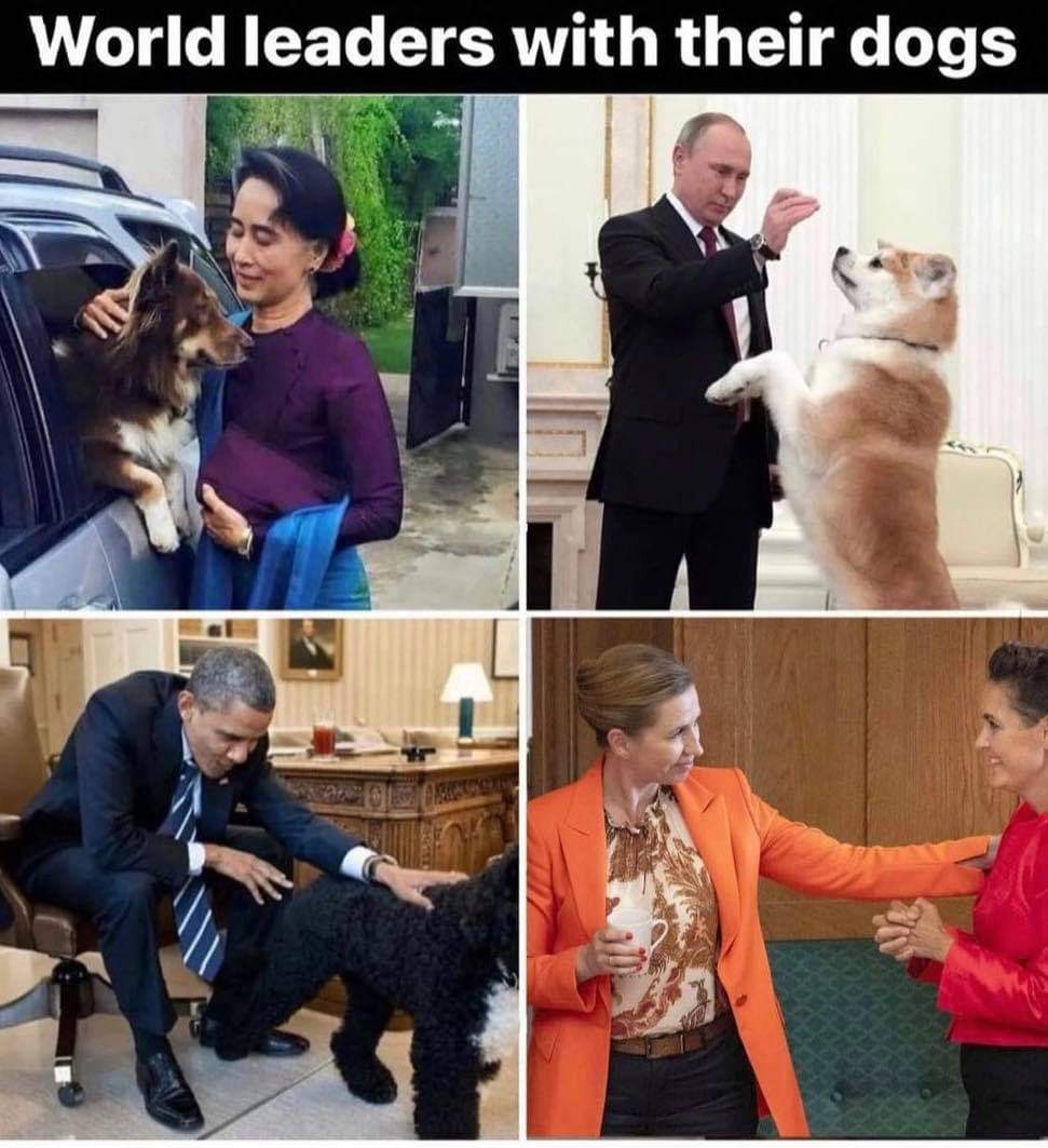 World leaders with their dogs.