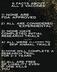 Six facts about the three known vaccines (actually seven - they are not vaccines, but mRNA treatments)